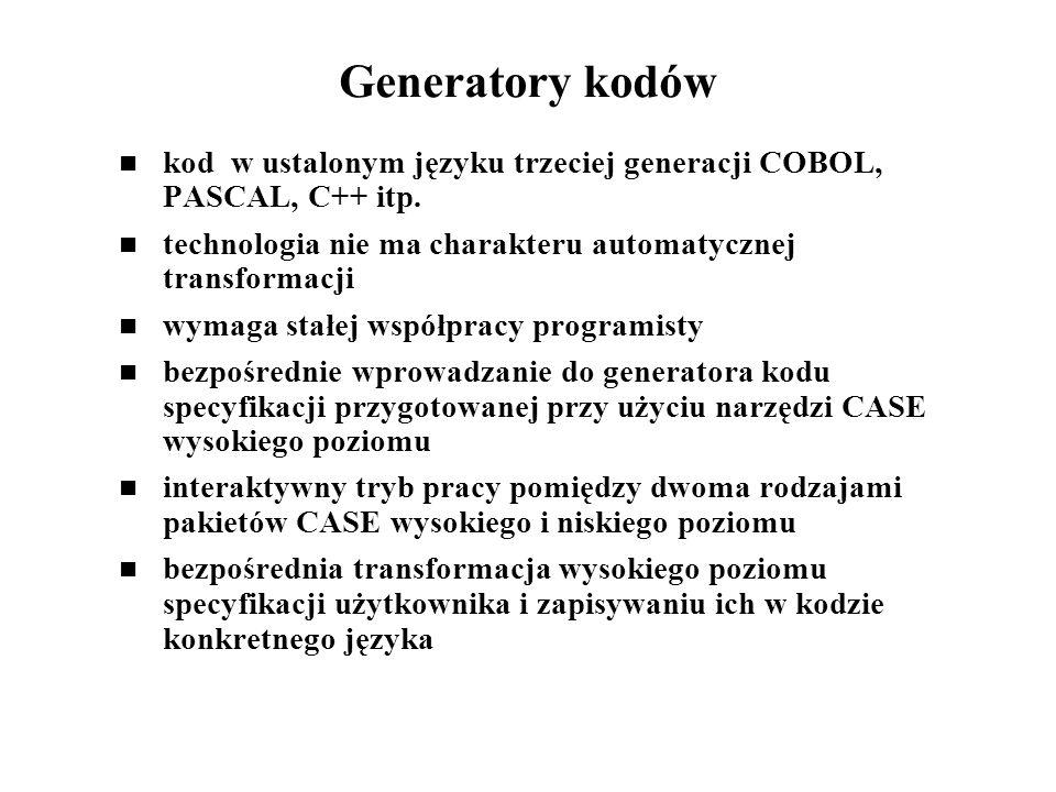 Generatory kodów kod w ustalonym języku trzeciej generacji COBOL, PASCAL, C++ itp. technologia nie ma charakteru automatycznej transformacji wymaga st