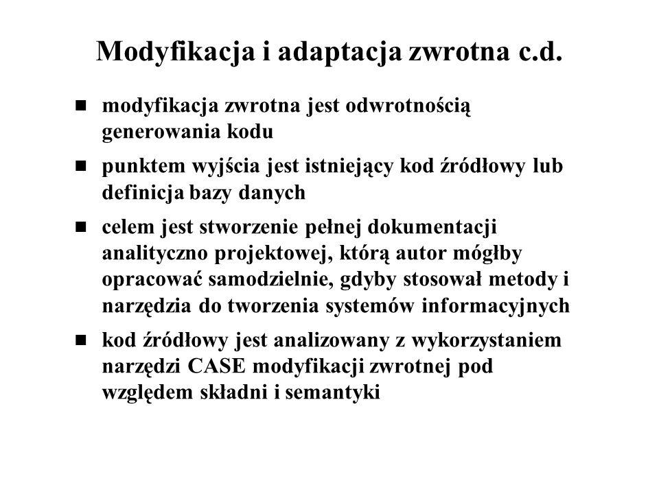 Modyfikacja i adaptacja zwrotna c.d. modyfikacja zwrotna jest odwrotnością generowania kodu punktem wyjścia jest istniejący kod źródłowy lub definicja