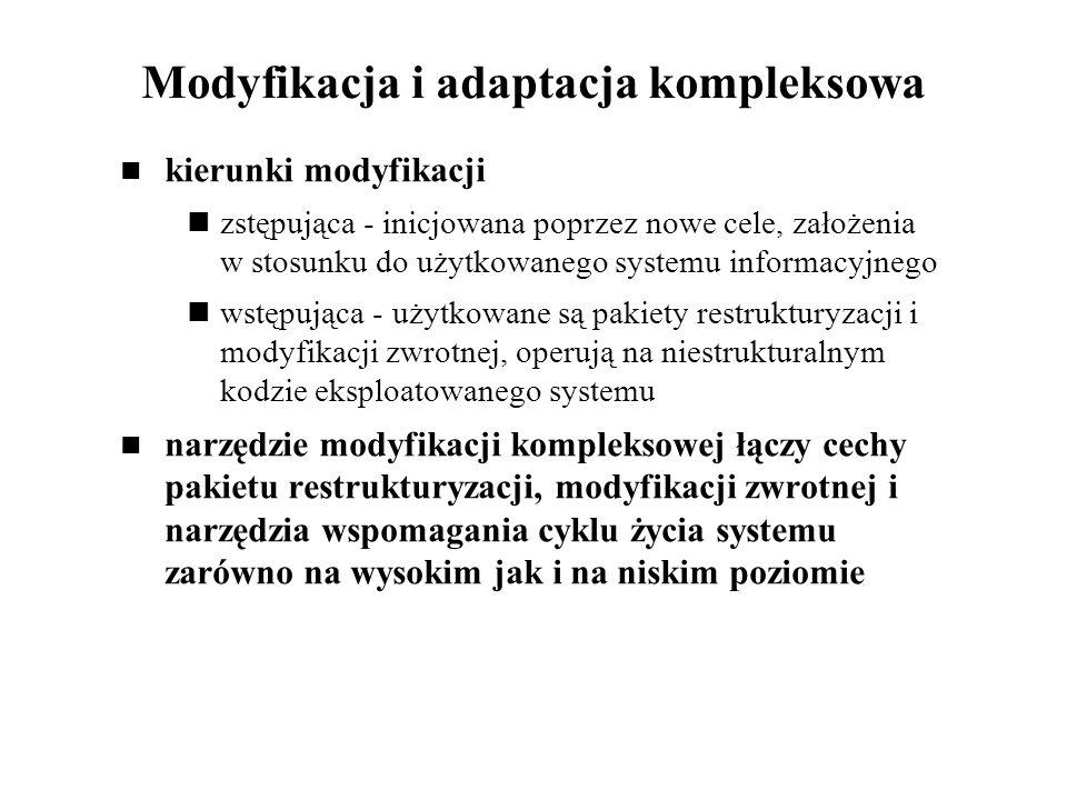 Modyfikacja i adaptacja kompleksowa kierunki modyfikacji zstępująca - inicjowana poprzez nowe cele, założenia w stosunku do użytkowanego systemu infor