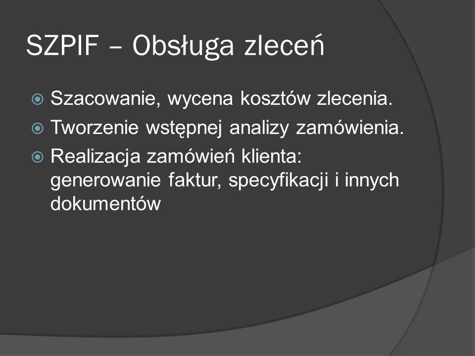 SZPIF – Obsługa zleceń Szacowanie, wycena kosztów zlecenia.