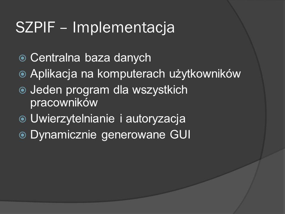 SZPIF – Implementacja Centralna baza danych Aplikacja na komputerach użytkowników Jeden program dla wszystkich pracowników Uwierzytelnianie i autoryzacja Dynamicznie generowane GUI