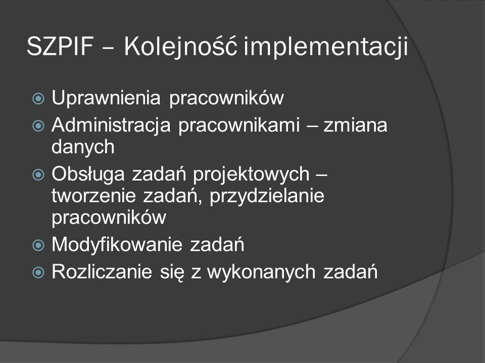 SZPIF – Kolejność implementacji Uprawnienia pracowników Administracja pracownikami – zmiana danych Obsługa zadań projektowych – tworzenie zadań, przydzielanie pracowników Modyfikowanie zadań Rozliczanie się z wykonanych zadań
