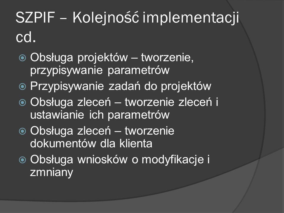 SZPIF – Kolejność implementacji cd.