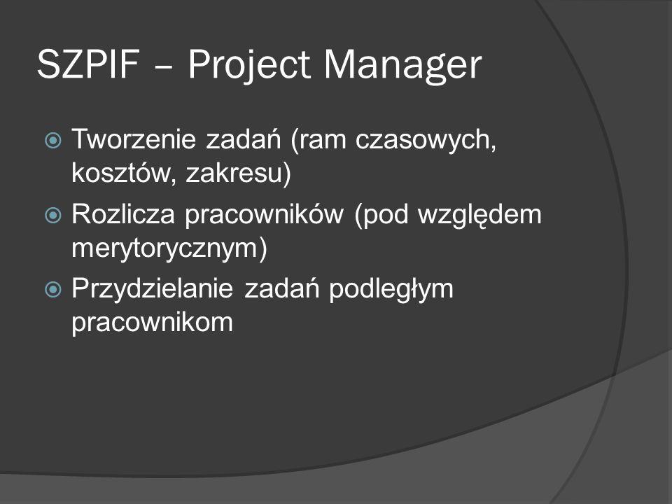 SZPIF – Project Manager Tworzenie zadań (ram czasowych, kosztów, zakresu) Rozlicza pracowników (pod względem merytorycznym) Przydzielanie zadań podległym pracownikom