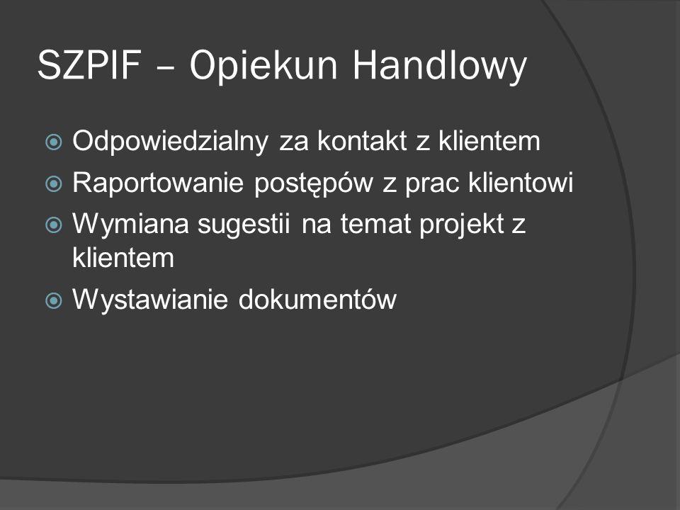 SZPIF – Pracownik Wykonuje przypisane mu zadania Tworzy Raporty dla Project Managera o wykonaniu zadań Tworzy Raporty dla Przełożonego w celu zaświadczenia wykonania pracy