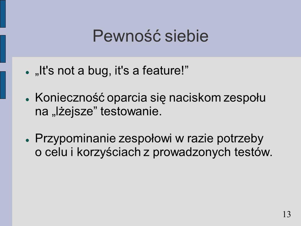 Pewność siebie It's not a bug, it's a feature! Konieczność oparcia się naciskom zespołu na lżejsze testowanie. Przypominanie zespołowi w razie potrzeb