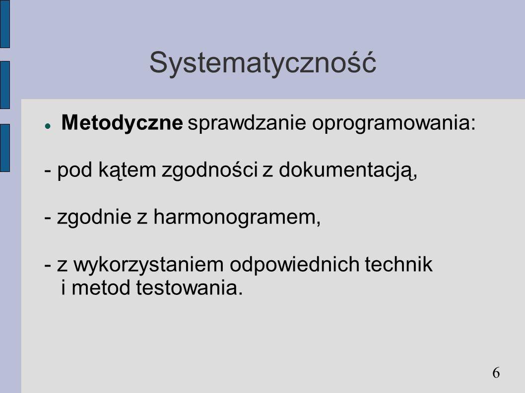 Systematyczność Metodyczne sprawdzanie oprogramowania: - pod kątem zgodności z dokumentacją, - zgodnie z harmonogramem, - z wykorzystaniem odpowiednic
