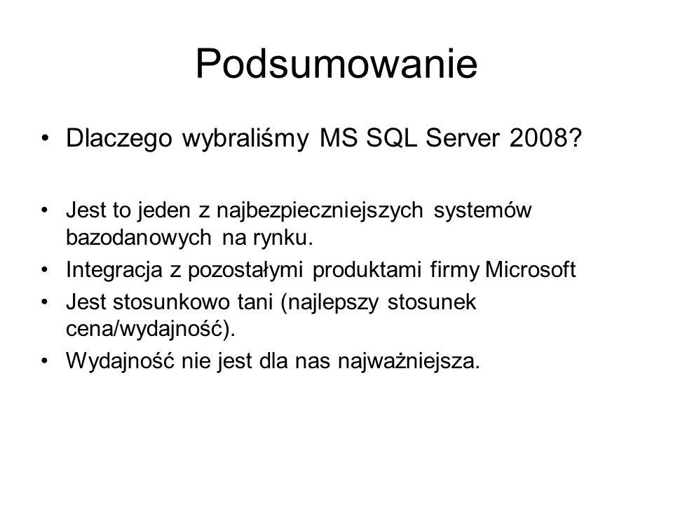 Podsumowanie Dlaczego wybraliśmy MS SQL Server 2008.