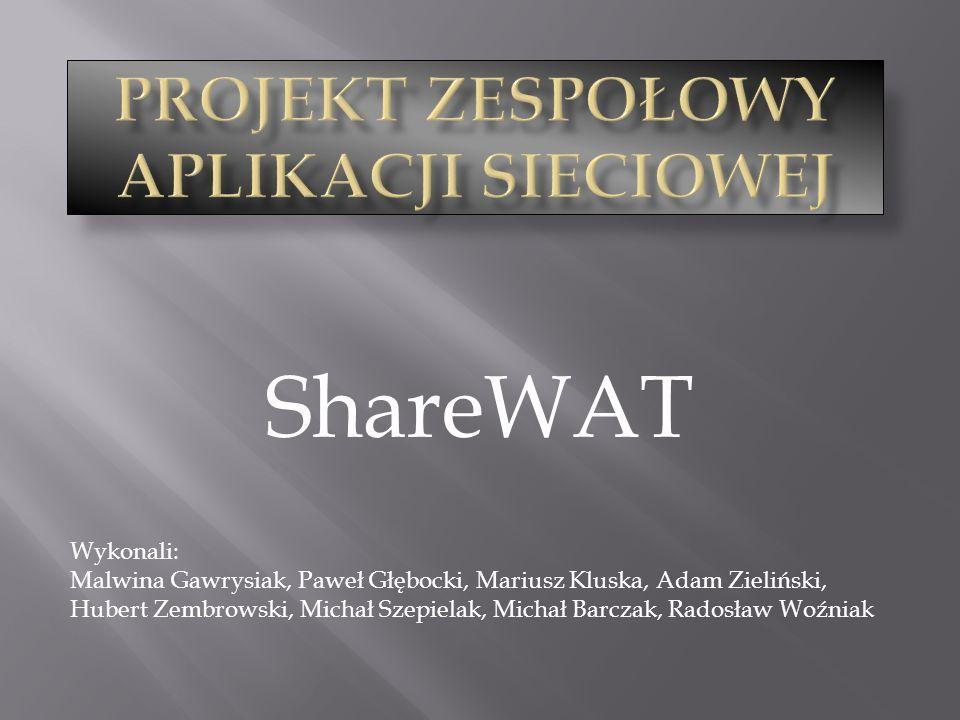 ShareWAT Wykonali: Malwina Gawrysiak, Paweł Głębocki, Mariusz Kluska, Adam Zieliński, Hubert Zembrowski, Michał Szepielak, Michał Barczak, Radosław Wo