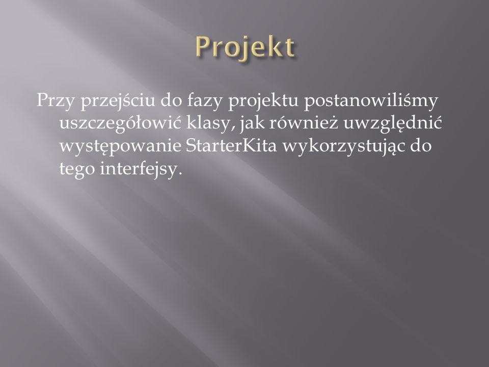 Przy przejściu do fazy projektu postanowiliśmy uszczegółowić klasy, jak również uwzględnić występowanie StarterKita wykorzystując do tego interfejsy.