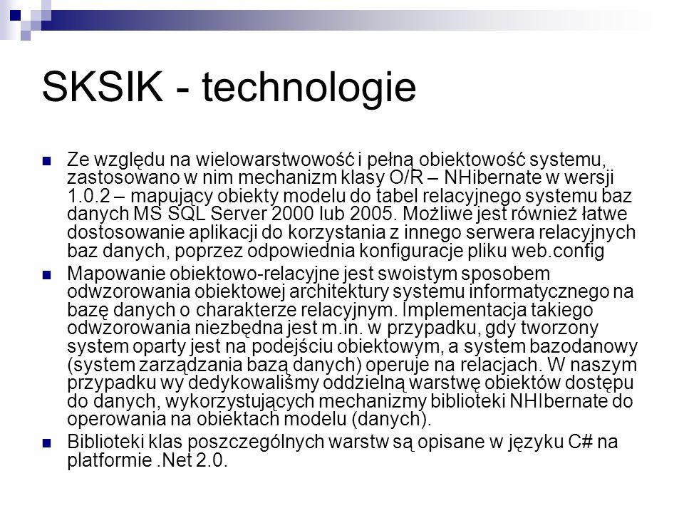 SKSIK - technologie Ze względu na wielowarstwowość i pełną obiektowość systemu, zastosowano w nim mechanizm klasy O/R – NHibernate w wersji 1.0.2 – ma
