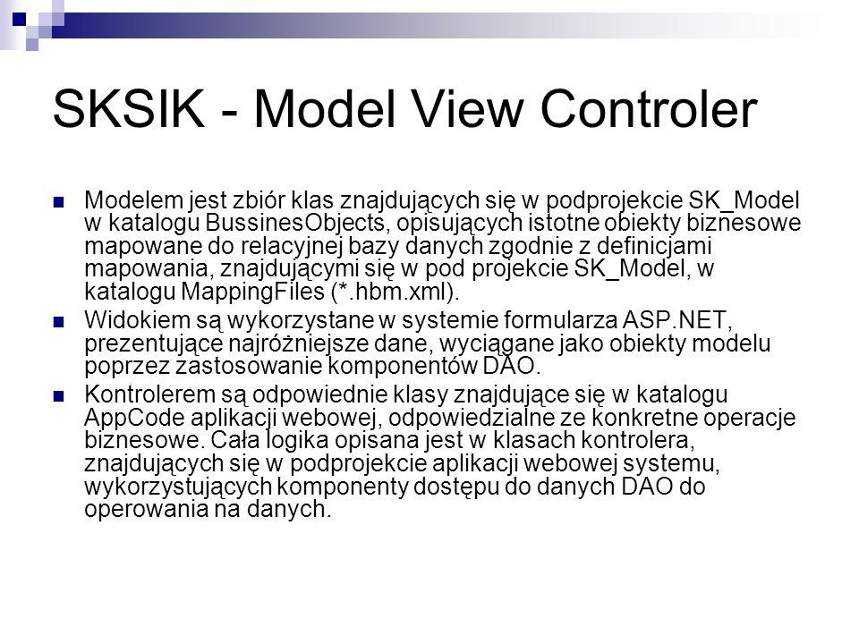 SKSIK - Model View Controler Modelem jest zbiór klas znajdujących się w podprojekcie SK_Model w katalogu BussinesObjects, opisujących istotne obiekty