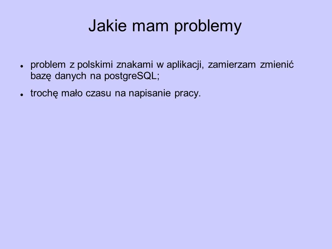 Jakie mam problemy problem z polskimi znakami w aplikacji, zamierzam zmienić bazę danych na postgreSQL; trochę mało czasu na napisanie pracy.