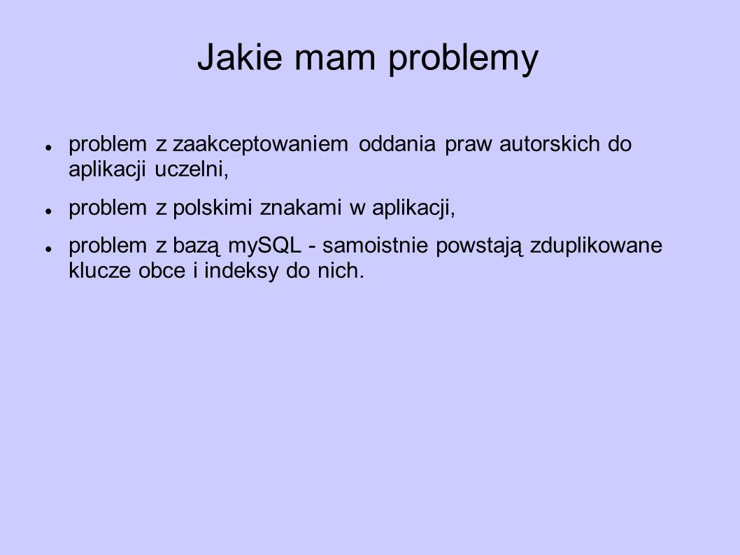 Jakie mam problemy problem z zaakceptowaniem oddania praw autorskich do aplikacji uczelni, problem z polskimi znakami w aplikacji, problem z bazą mySQL - samoistnie powstają zduplikowane klucze obce i indeksy do nich.
