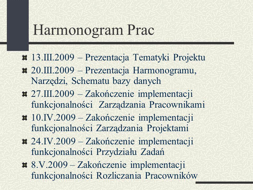 Harmonogram Prac 13.III.2009 – Prezentacja Tematyki Projektu 20.III.2009 – Prezentacja Harmonogramu, Narzędzi, Schematu bazy danych 27.III.2009 – Zako