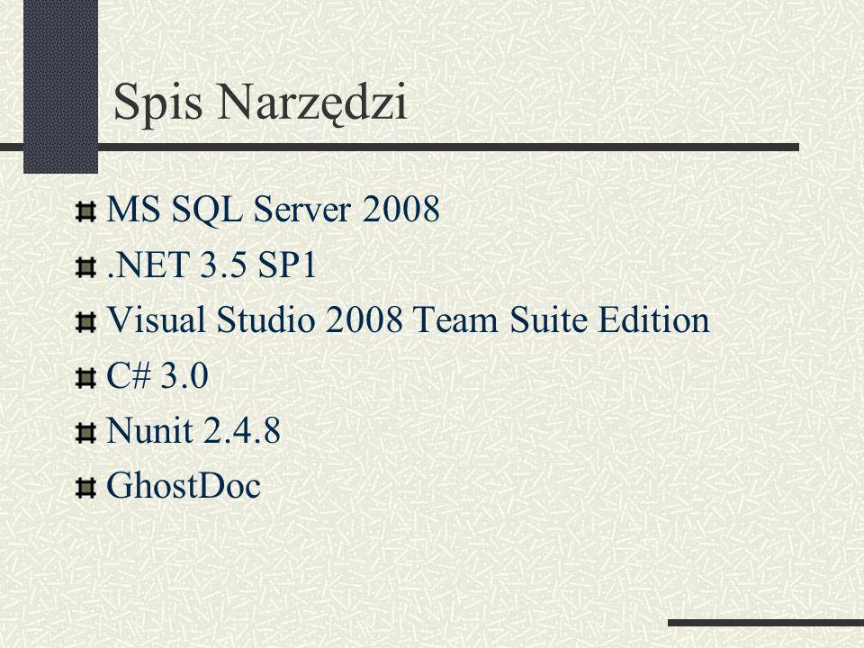 Spis Narzędzi MS SQL Server 2008.NET 3.5 SP1 Visual Studio 2008 Team Suite Edition C# 3.0 Nunit 2.4.8 GhostDoc