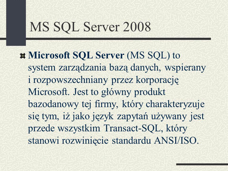 SQL Server Management Studio jest narzędziem dołączonym do Microsoft SQL Server 2008 w celu konfiguracji, zarządzania i administrowania wszystkich komponentów Microsoft SQL Server.