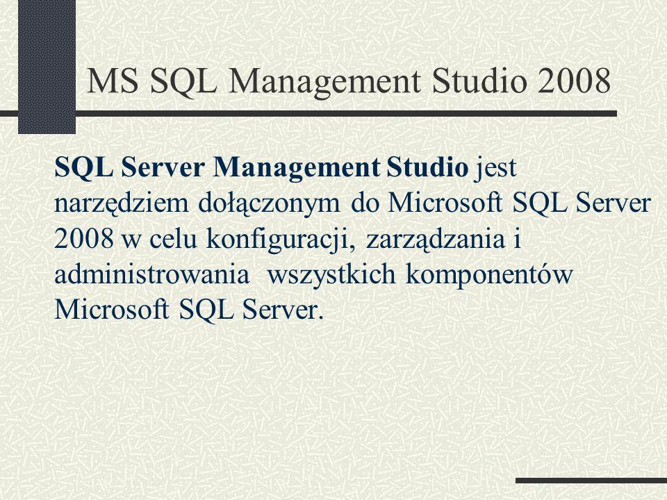 SQL Server Management Studio jest narzędziem dołączonym do Microsoft SQL Server 2008 w celu konfiguracji, zarządzania i administrowania wszystkich kom
