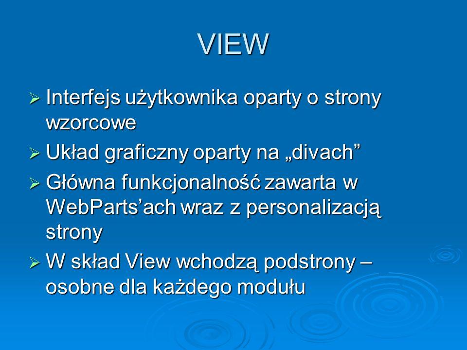 VIEW Interfejs użytkownika oparty o strony wzorcowe Interfejs użytkownika oparty o strony wzorcowe Układ graficzny oparty na divach Układ graficzny op