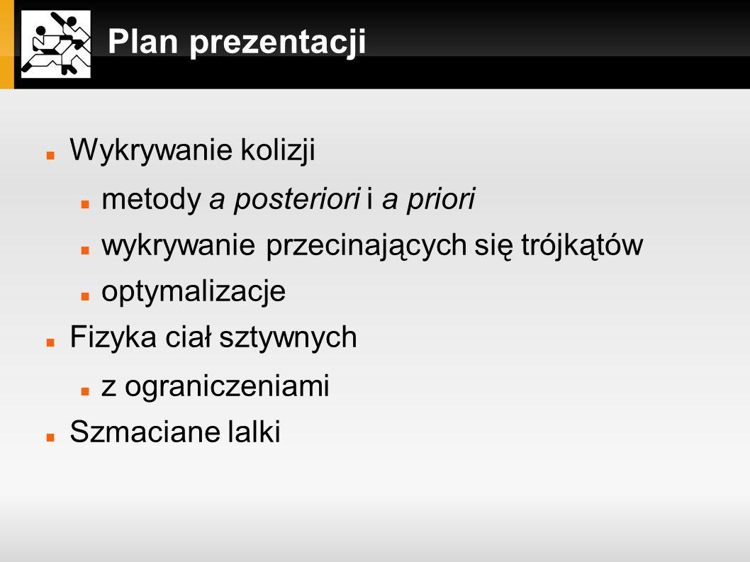 Plan prezentacji Wykrywanie kolizji metody a posteriori i a priori wykrywanie przecinających się trójkątów optymalizacje Fizyka ciał sztywnych z ogran