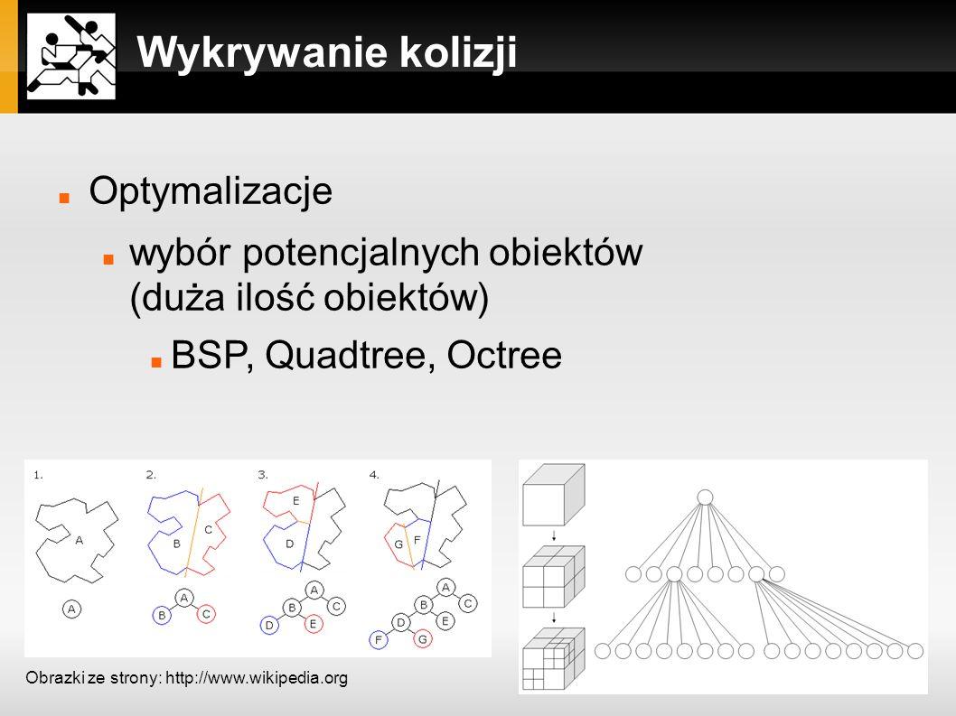 Wykrywanie kolizji Optymalizacje wybór potencjalnych obiektów (duża ilość obiektów) BSP, Quadtree, Octree Obrazki ze strony: http://www.wikipedia.org