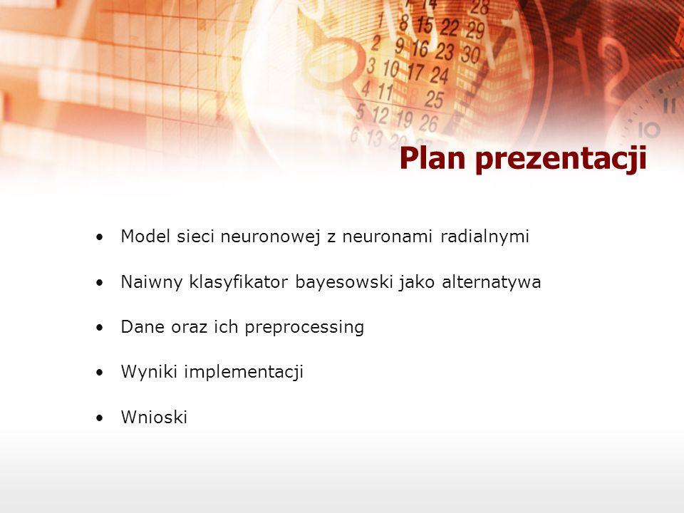 Plan prezentacji Model sieci neuronowej z neuronami radialnymi Naiwny klasyfikator bayesowski jako alternatywa Dane oraz ich preprocessing Wyniki impl