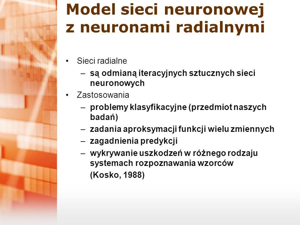 Model sieci neuronowej z neuronami radialnymi Sieci radialne –są odmianą iteracyjnych sztucznych sieci neuronowych Zastosowania –problemy klasyfikacyj