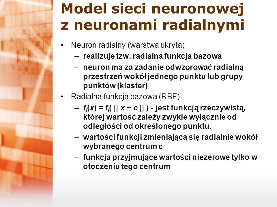 Model sieci neuronowej z neuronami radialnymi Neuron radialny (warstwa ukryta) –realizuje tzw. radialna funkcja bazowa –neuron ma za zadanie odwzorowa
