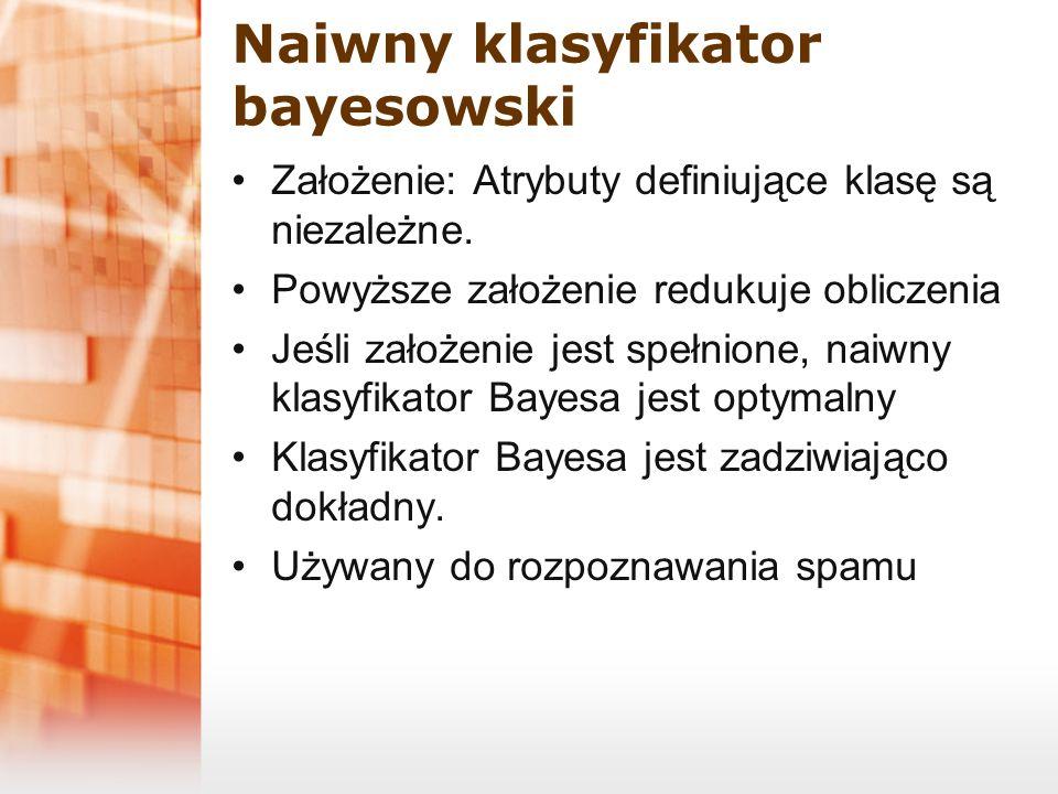 Naiwny klasyfikator bayesowski Założenie: Atrybuty definiujące klasę są niezależne. Powyższe założenie redukuje obliczenia Jeśli założenie jest spełni