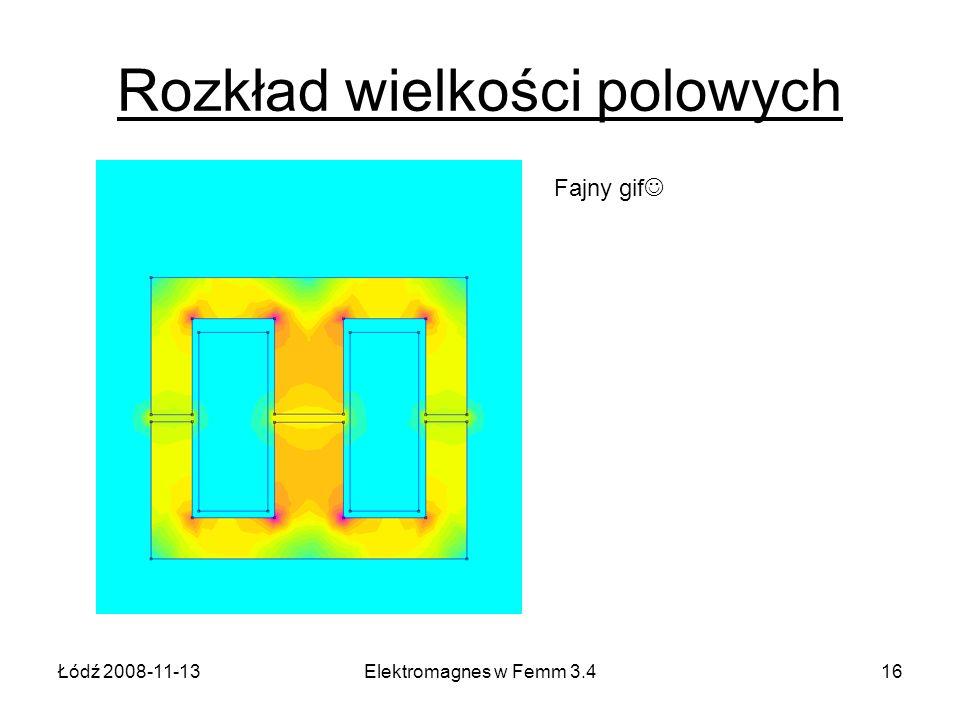 Łódź 2008-11-13Elektromagnes w Femm 3.416 Rozkład wielkości polowych Fajny gif