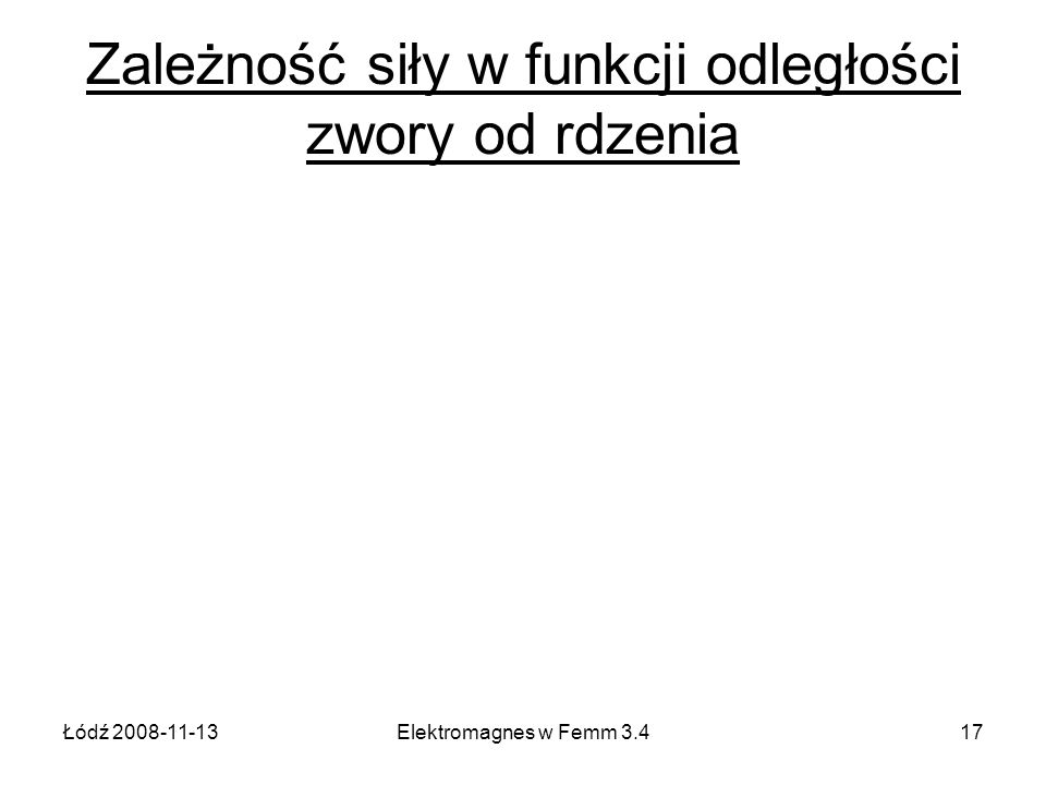 Łódź 2008-11-13Elektromagnes w Femm 3.417 Zależność siły w funkcji odległości zwory od rdzenia