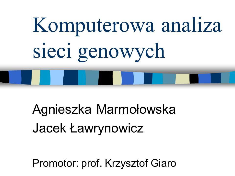 Komputerowa analiza sieci genowych Agnieszka Marmołowska Jacek Ławrynowicz Promotor: prof. Krzysztof Giaro