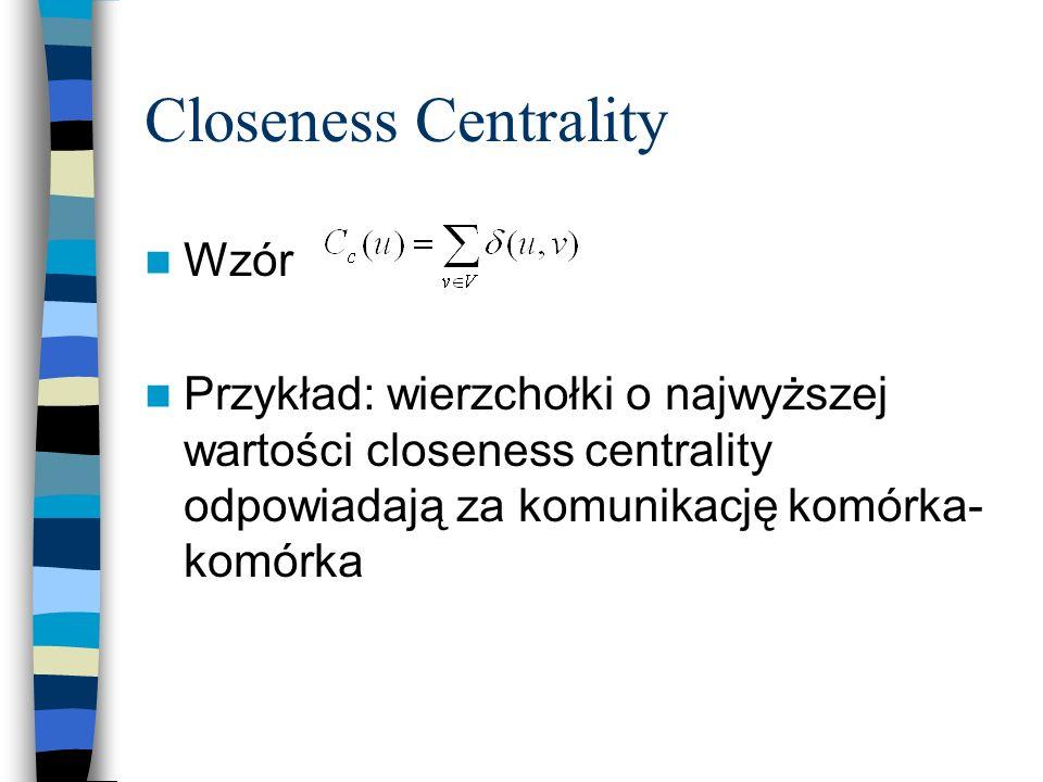 Closeness Centrality Wzór Przykład: wierzchołki o najwyższej wartości closeness centrality odpowiadają za komunikację komórka- komórka