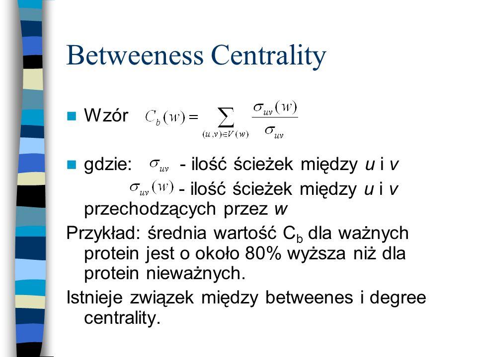 Betweeness Centrality Wzór gdzie: - ilość ścieżek między u i v - ilość ścieżek między u i v przechodzących przez w Przykład: średnia wartość C b dla w
