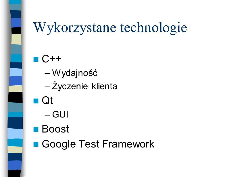 Wykorzystane technologie C++ –Wydajność –Życzenie klienta Qt –GUI Boost Google Test Framework