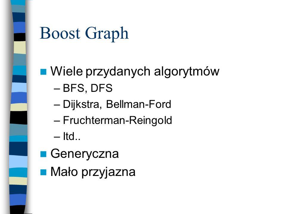 Boost Graph Wiele przydanych algorytmów –BFS, DFS –Dijkstra, Bellman-Ford –Fruchterman-Reingold –Itd.. Generyczna Mało przyjazna