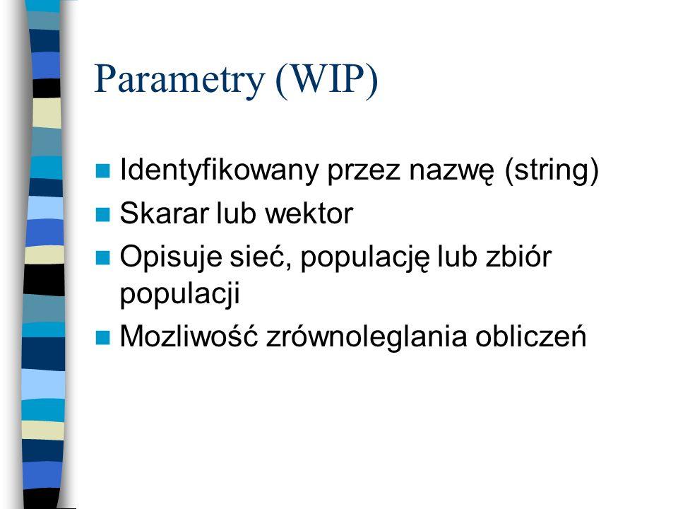 Parametry (WIP) Identyfikowany przez nazwę (string) Skarar lub wektor Opisuje sieć, populację lub zbiór populacji Mozliwość zrównoleglania obliczeń
