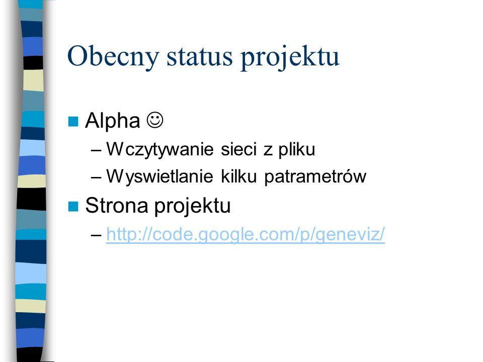 Obecny status projektu Alpha –Wczytywanie sieci z pliku –Wyswietlanie kilku patrametrów Strona projektu –http://code.google.com/p/geneviz/http://code.