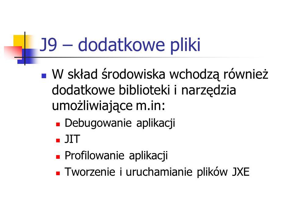 J9 – dodatkowe pliki W skład środowiska wchodzą również dodatkowe biblioteki i narzędzia umożliwiające m.in: Debugowanie aplikacji JIT Profilowanie ap