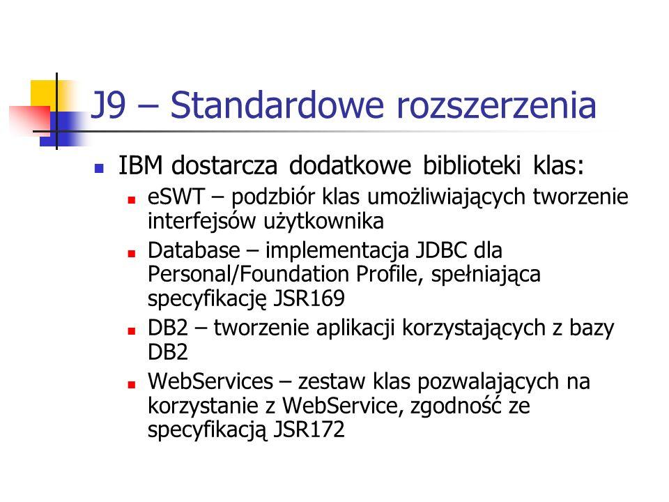 J9 – Standardowe rozszerzenia IBM dostarcza dodatkowe biblioteki klas: eSWT – podzbiór klas umożliwiających tworzenie interfejsów użytkownika Database