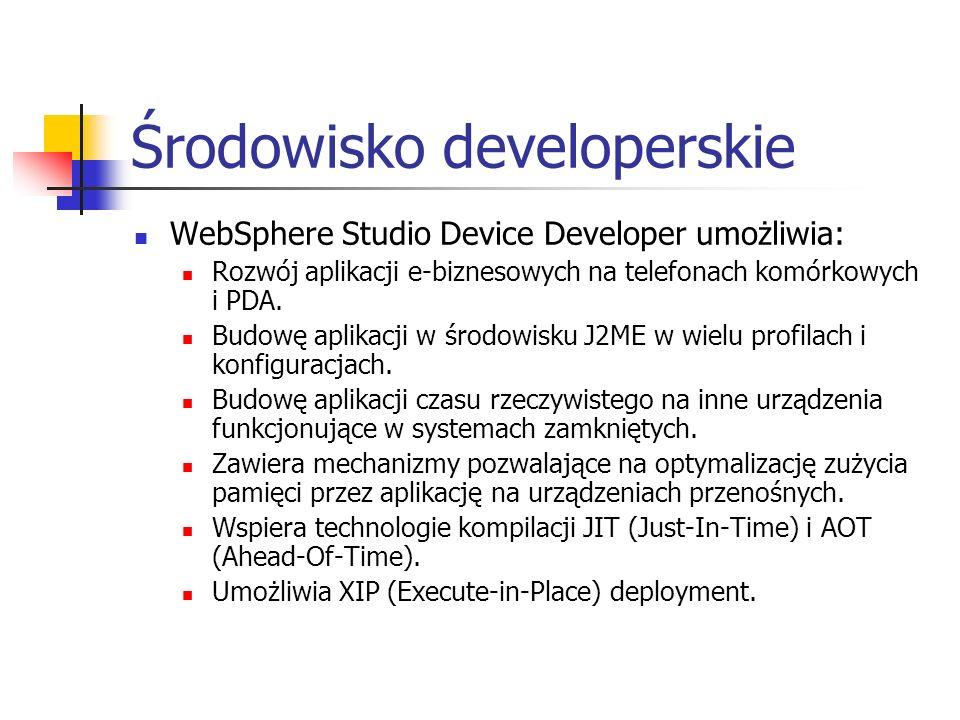 Środowisko developerskie WebSphere Studio Device Developer umożliwia: Rozwój aplikacji e-biznesowych na telefonach komórkowych i PDA. Budowę aplikacji