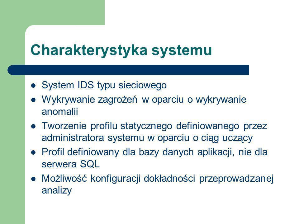 Charakterystyka systemu System IDS typu sieciowego Wykrywanie zagrożeń w oparciu o wykrywanie anomalii Tworzenie profilu statycznego definiowanego przez administratora systemu w oparciu o ciąg uczący Profil definiowany dla bazy danych aplikacji, nie dla serwera SQL Możliwość konfiguracji dokładności przeprowadzanej analizy