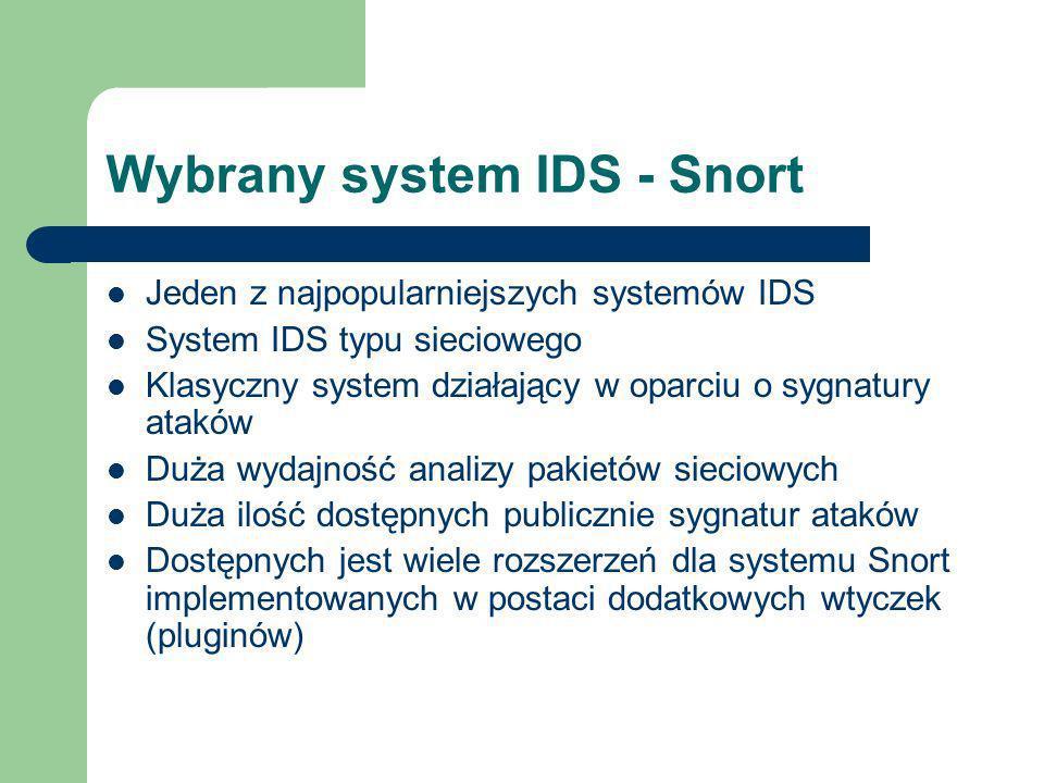 Wybrany system IDS - Snort Jeden z najpopularniejszych systemów IDS System IDS typu sieciowego Klasyczny system działający w oparciu o sygnatury ataków Duża wydajność analizy pakietów sieciowych Duża ilość dostępnych publicznie sygnatur ataków Dostępnych jest wiele rozszerzeń dla systemu Snort implementowanych w postaci dodatkowych wtyczek (pluginów)