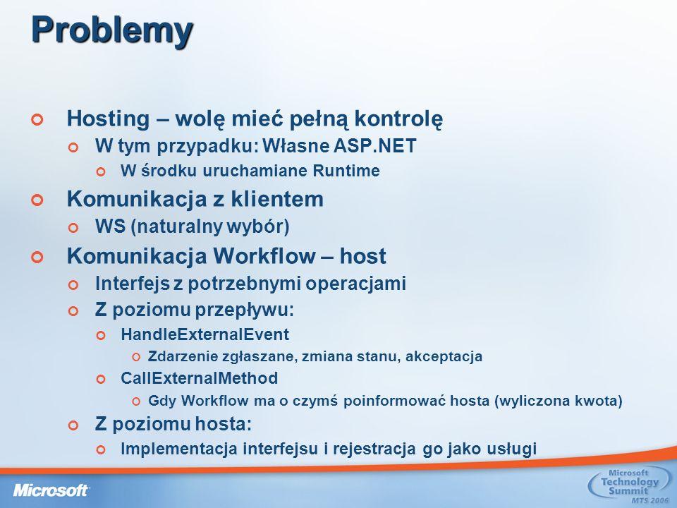 Problemy Hosting – wolę mieć pełną kontrolę W tym przypadku: Własne ASP.NET W środku uruchamiane Runtime Komunikacja z klientem WS (naturalny wybór) Komunikacja Workflow – host Interfejs z potrzebnymi operacjami Z poziomu przepływu: HandleExternalEvent Zdarzenie zgłaszane, zmiana stanu, akceptacja CallExternalMethod Gdy Workflow ma o czymś poinformować hosta (wyliczona kwota) Z poziomu hosta: Implementacja interfejsu i rejestracja go jako usługi