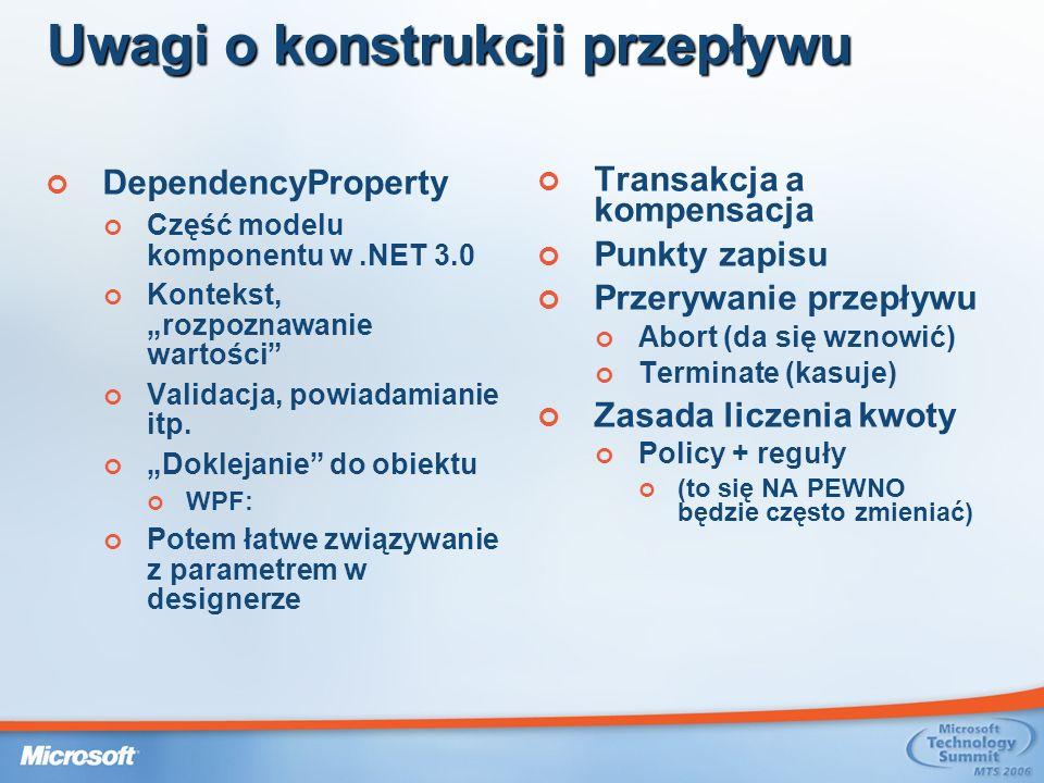 Uwagi o konstrukcji przepływu DependencyProperty Część modelu komponentu w.NET 3.0 Kontekst, rozpoznawanie wartości Validacja, powiadamianie itp.