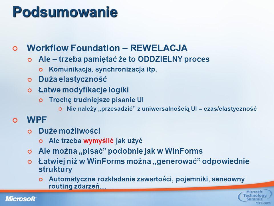 Podsumowanie Workflow Foundation – REWELACJA Ale – trzeba pamiętać że to ODDZIELNY proces Komunikacja, synchronizacja itp.