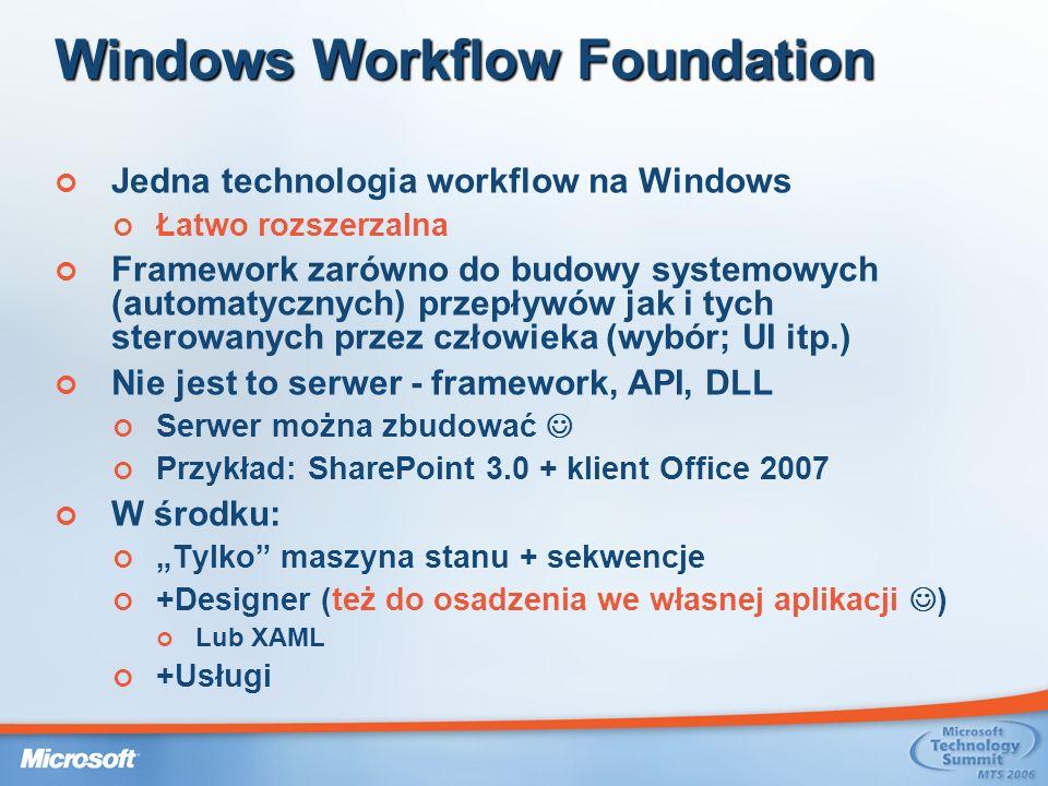 Windows Workflow Foundation Jedna technologia workflow na Windows Łatwo rozszerzalna Framework zarówno do budowy systemowych (automatycznych) przepływów jak i tych sterowanych przez człowieka (wybór; UI itp.) Nie jest to serwer - framework, API, DLL Serwer można zbudować Przykład: SharePoint 3.0 + klient Office 2007 W środku: Tylko maszyna stanu + sekwencje +Designer (też do osadzenia we własnej aplikacji ) Lub XAML +Usługi