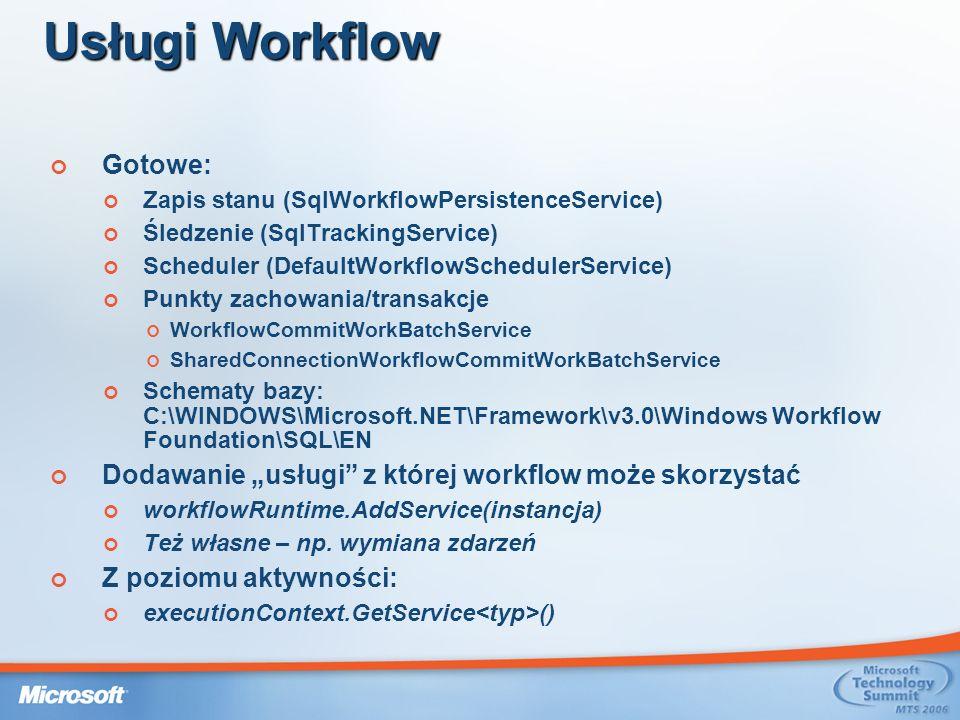 Usługi Workflow Gotowe: Zapis stanu (SqlWorkflowPersistenceService) Śledzenie (SqlTrackingService) Scheduler (DefaultWorkflowSchedulerService) Punkty zachowania/transakcje WorkflowCommitWorkBatchService SharedConnectionWorkflowCommitWorkBatchService Schematy bazy: C:\WINDOWS\Microsoft.NET\Framework\v3.0\Windows Workflow Foundation\SQL\EN Dodawanie usługi z której workflow może skorzystać workflowRuntime.AddService(instancja) Też własne – np.