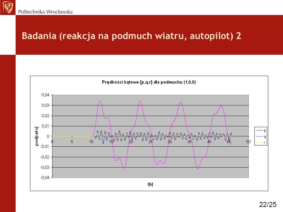 Badania (reakcja na podmuch wiatru, autopilot) 2 22/25