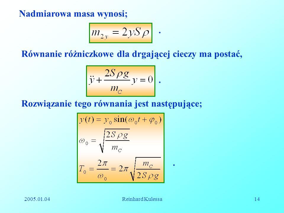 2005.01.04Reinhard Kulessa14 Nadmiarowa masa wynosi;. Równanie różniczkowe dla drgającej cieczy ma postać,. Rozwiązanie tego równania jest następujące
